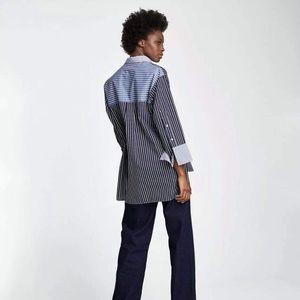 Zara Blue & White Striped Button Tunic